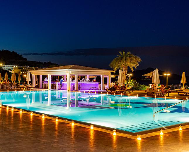 TUI BLUE Lindos Bay Pool Bar by night